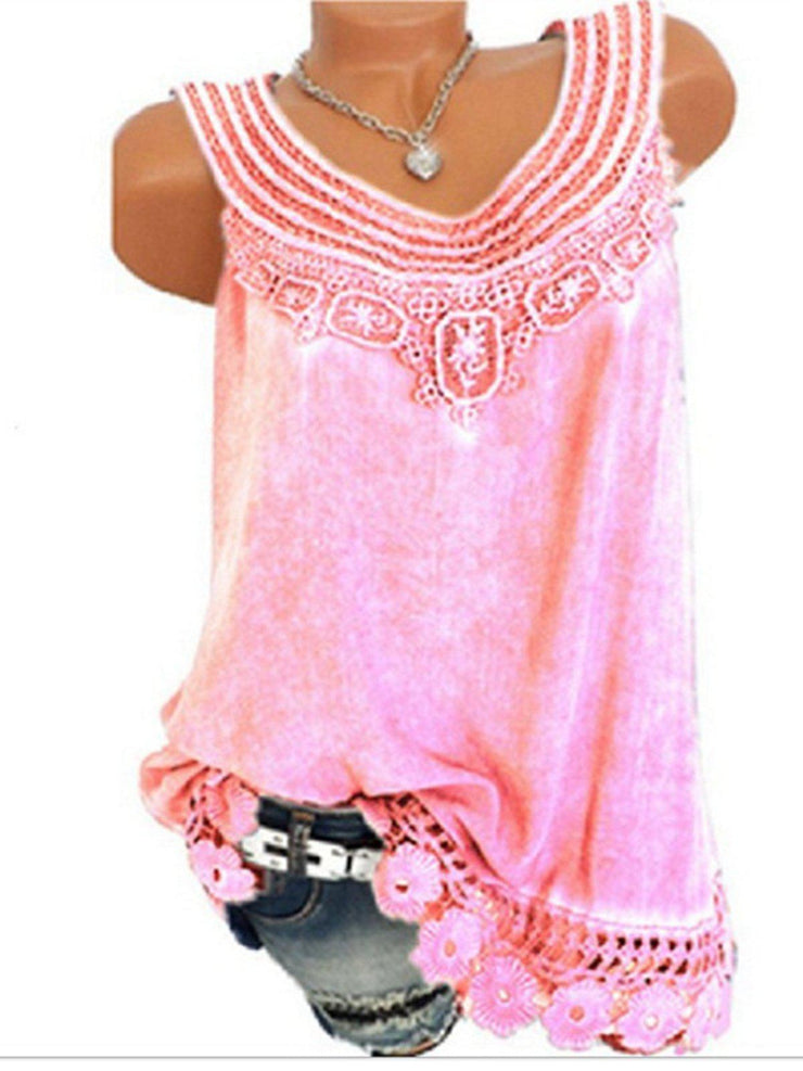 Women Solid Sleeveless Lace Tops Plus Size-TOPS-Wotoba-Pink-S-Wotoba
