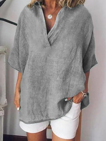 Short Sleeve Solid Casual Loose Cotton Blouses-Top-Wotoba-Light Gray-S-Wotoba