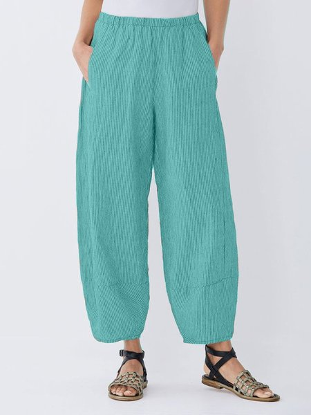 Daily Plus Size Pockets Cotton Linen Pants-Bottom-Wotoba-Green-S-Wotoba