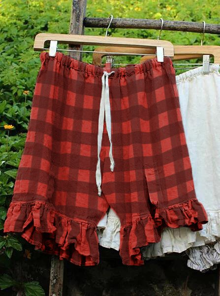Summer Solid Casual Plaid Loose Shorts-Bottom-Wotoba-Red-S-Wotoba