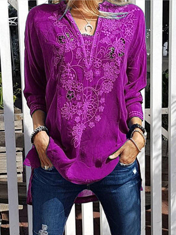 Patchwork Casual Shirts & Tops-Top-Wotoba-Purple-S-Wotoba