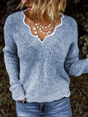 Women Sweaters V neck Solid Knitted Loose Plus Size Pullover Sweaters Plus Size-TOPS-Wotoba-Blue-S-Wotoba