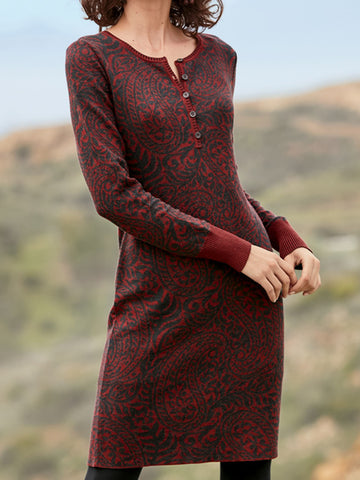 Women Floral Long Sleeve Paneled Red Sweater Plus Size-dress-Wotoba-Red-S-Wotoba