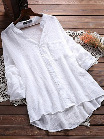 Women Causal Long Sleeve Solid Stand Collar Cotton Blouses-Top-Wotoba-White-S-Wotoba