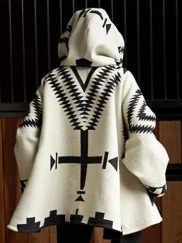 Women Coat White-Black Aztec Color-Block