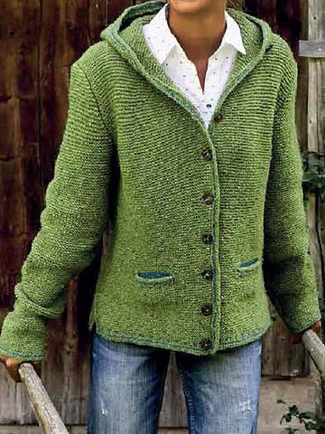 Women Knitted Cardigan Sweater Long Sleeve Outerwear with Hoodie Plus Size-Top-Wotoba-Green-S-Wotoba