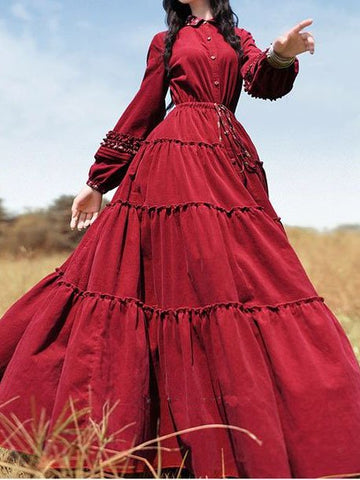 Long Sleeve Dresses Casual Cotton-Blend Shirt Collar Long Dress-dress-Wotoba-Red-S-Wotoba