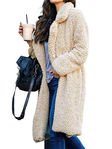 Women Fur Coat Casual Lapel Collar Long Coat for Fall Winter-Top-Wotoba-Khaki-XS-Wotoba