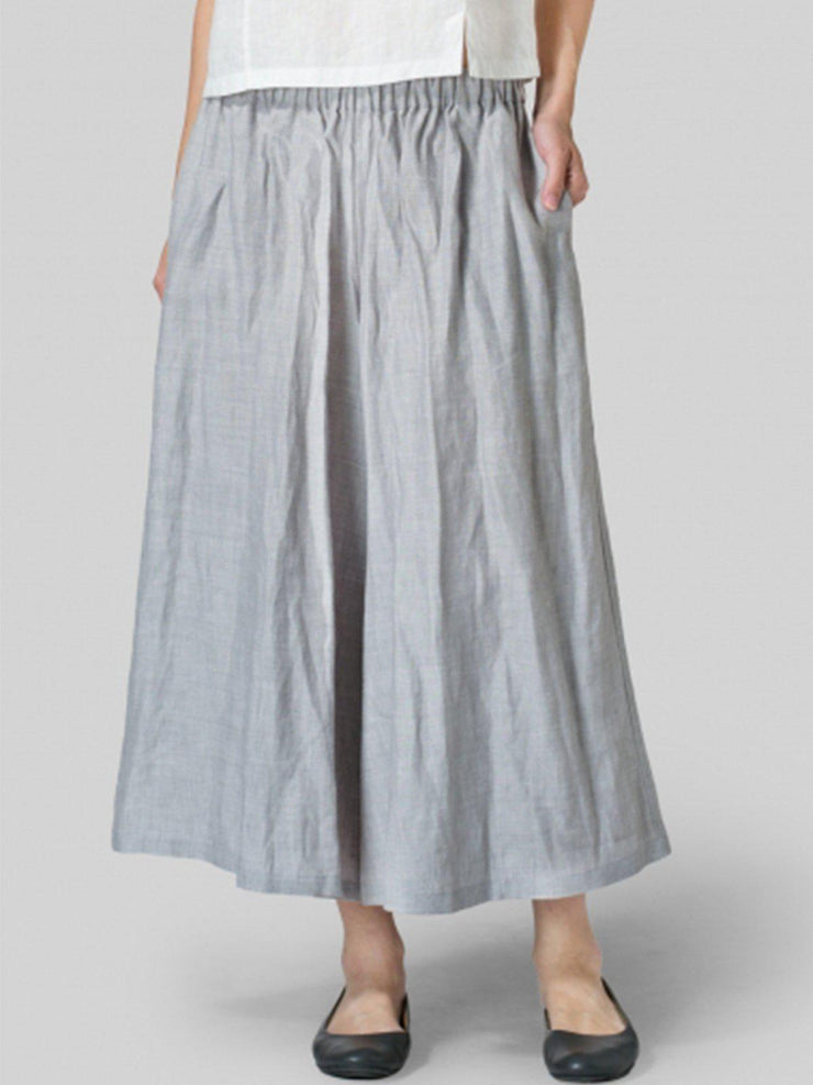 Summer Casual Pockets Mid-weight Linen Pant-Bottom-Wotoba-Light Gray-S-Wotoba