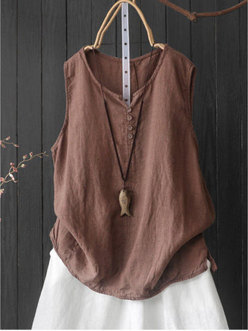 Sleeveless Casual Round Neck Shirts & Tops-Top-Wotoba-Coffee-S-Wotoba
