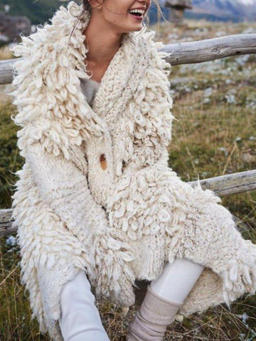Faux Fur Coat Casual Long Sleeve Plus Size for Women-Top-Wotoba-White-S-Wotoba
