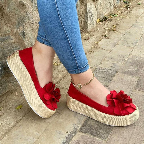 Faux Suede All Season Platform Loafers-Shoe-Wotoba-Red-35-Wotoba