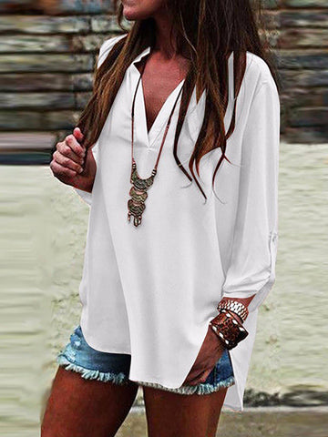Women Solid Shirt V Neck Slit Long Sleeve Plus Size-Top-Wotoba-White-S-Wotoba
