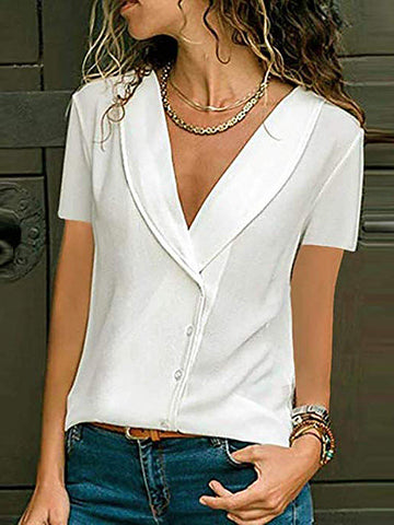 V-neck Buttoned Blouse Solid Shirts-Top-Wotoba-White-S-Wotoba