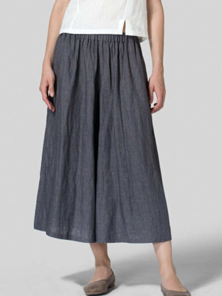Summer Casual Pockets Mid-weight Linen Pant-Bottom-Wotoba-Blue Gray-S-Wotoba