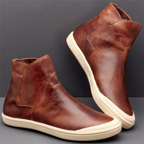 Women Casual Comfy High Top Slip On Flat Sneakers-Shoe-Wotoba-Brown-35-Wotoba