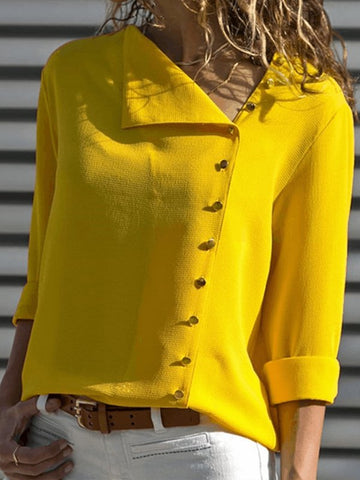 Shift Long Sleeve Casual Solid Buttoned Blouse-Top-Wotoba-Yellow-S-Wotoba