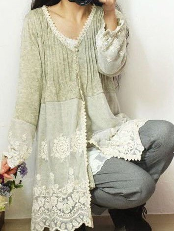 Casual Lace V Neck Paneled Long Sleeve Beige Shirts Tops