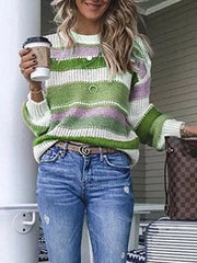 Multicolor Striped Plus Size Long Sleeve Statement Sweater-TOPS-Wotoba-Green-S-Wotoba