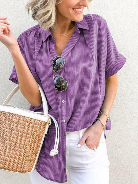 Plus Size Casual V-Neck Short Sleeve Striped Blouse-Top-Wotoba-Purple-S-Wotoba