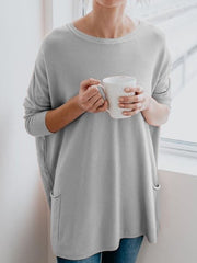 Casual Long Sleeve Cotton-Blend Solid Shirts & Tops-TOPS-Wotoba-Gray-S-Wotoba