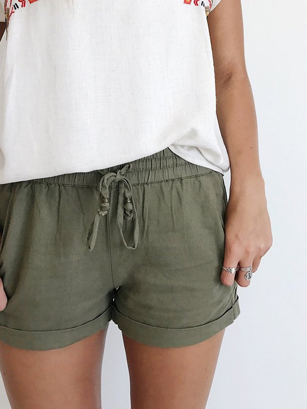 Casual Plus Size Solid Shorts With Pockets-Bottom-Wotoba-Army Green-S-Wotoba