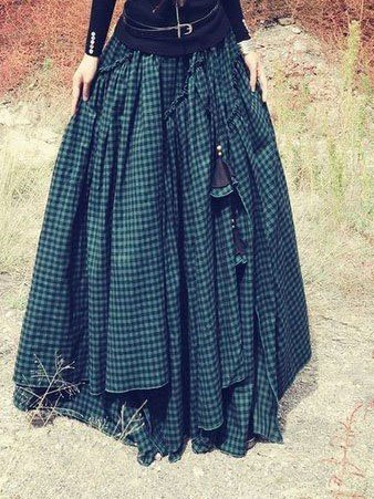 Vintage Green Asymmetric Checkered Cotton-Blend Plus Size Skirts
