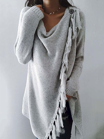 Long Sleeve Cowl Neck Plain Cotton-Blend Shirts & Tops-Top-Wotoba-Light Gray-S-Wotoba