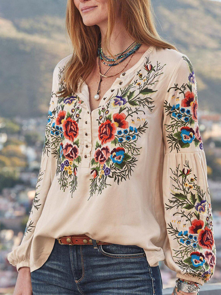 Women Boho Blouses Casual V Neck Long Sleeve Embroidery Plus Size-TOPS-SH4U5A3B-Apricot-S-Wotoba