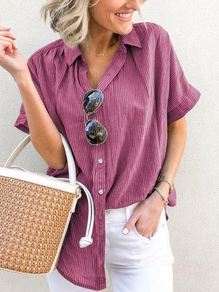 Plus Size Casual V-Neck Short Sleeve Striped Blouse-Top-Wotoba-Rose-S-Wotoba