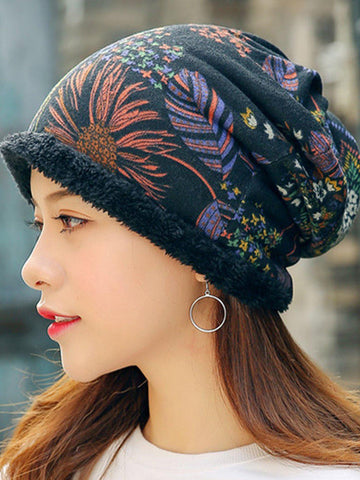 Womens Ethnic Cotton Beanie Hat Vintage Good Elastic Warm Turban Scarf Caps-Accessories-Wotoba-Black-One-size-Wotoba