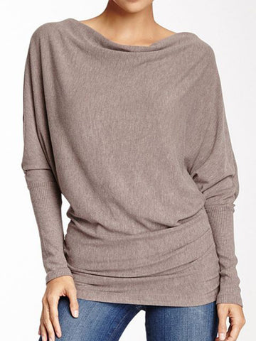 Women Long T-Shirts Casual Loose Batwing Solid Long Sleeve Pullover-Top-Wotoba-Khaki-S-Wotoba