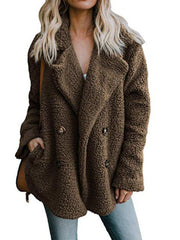 Women Teddy Bear Winter Fluffy Jacket Long Sleeve Buttoned Plus Size Coat-TOPS-Wotoba-Brown-S-Wotoba