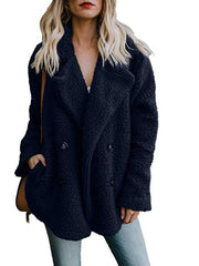 Women Teddy Bear Winter Fluffy Jacket Long Sleeve Buttoned Plus Size Coat-TOPS-Wotoba-Navy Blue-S-Wotoba