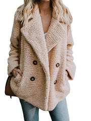 Women Teddy Bear Winter Fluffy Jacket Long Sleeve Buttoned Plus Size Coat-TOPS-Wotoba-Khaki-S-Wotoba