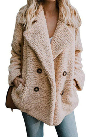 Women Teddy Bear Winter Fluffy Jacket Long Sleeve Buttoned Plus Size Coat-Top-Wotoba-Khaki-S-Wotoba