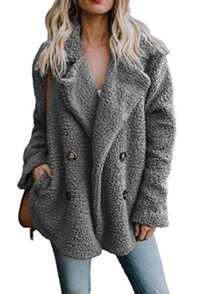 Women Teddy Bear Winter Fluffy Jacket Long Sleeve Buttoned Plus Size Coat-TOPS-Wotoba-Light Gray-S-Wotoba
