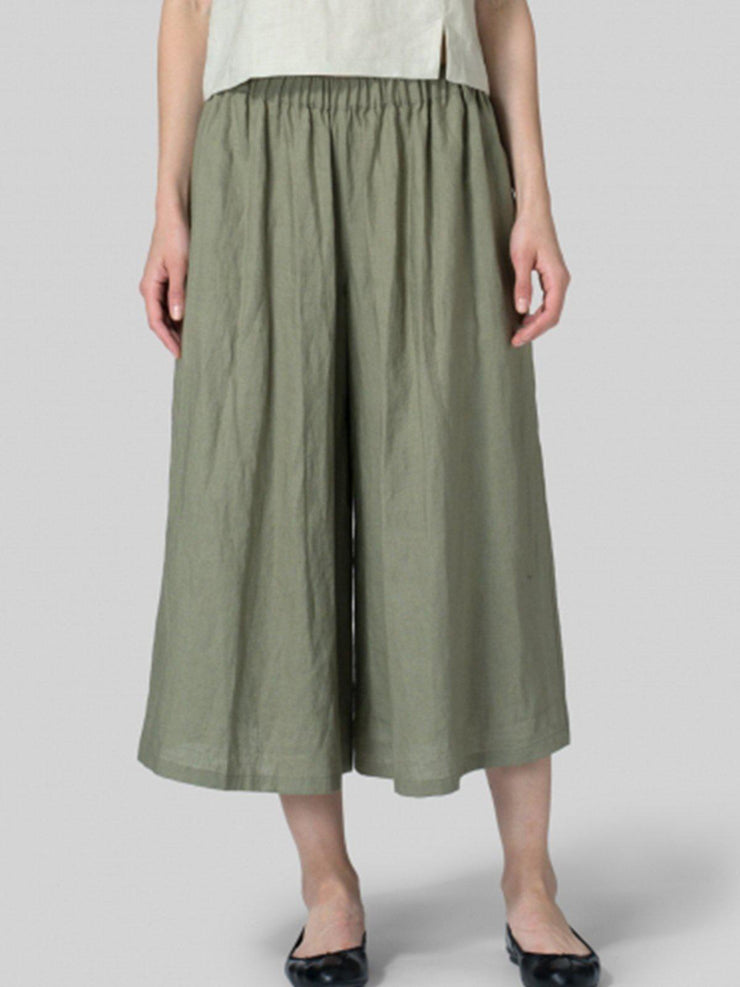 Summer Casual Pockets Mid-weight Linen Pant-Bottom-Wotoba-Army Green-S-Wotoba