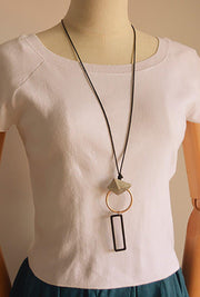 Alloy Geometric Wax Rope Long Necklace Women Accessory-ACC-Wotoba-Golden-One-size-Wotoba