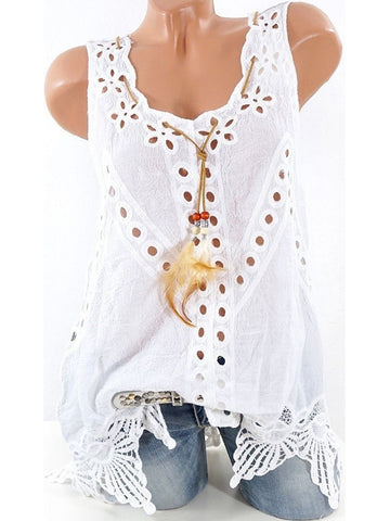 Summer Laciness Sleeveless Sweet Tanks-Top-Wotoba-White-S-Wotoba