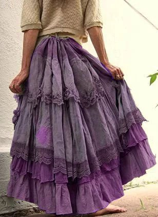 Pleated Maxi Skirt Vintage Casual Lace Skirts for Women