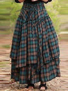Plaid Skirts Cotton-Blend Long Skirts for Women