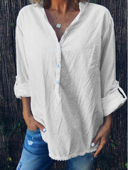 Summer Loose Casual Solid V-Neck Long Sleeve Shirt-TOPS-Wotoba-White-S-Wotoba