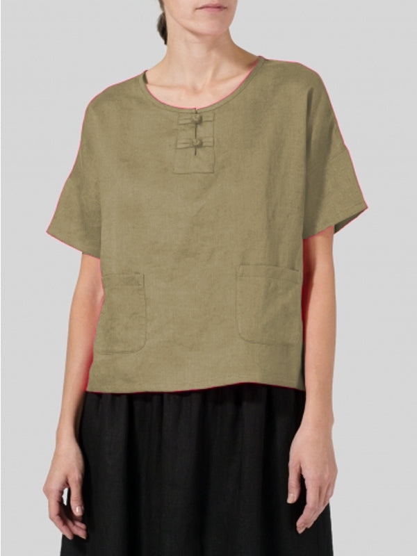 Casual Short Sleeve Round Neck Solid Plus Size Top-TOPS-Wotoba-Khaki-S-Wotoba