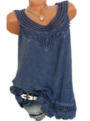 Women Solid Sleeveless Lace Tops Plus Size-TOPS-Wotoba-Navy Blue-S-Wotoba