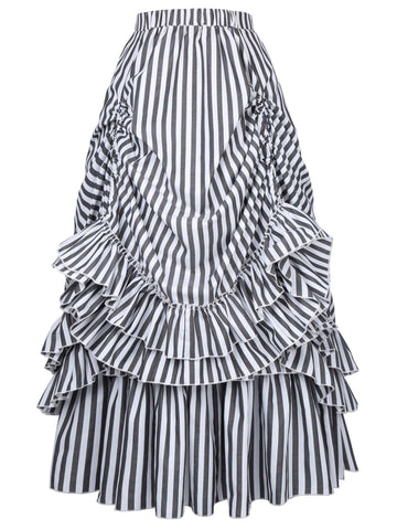 Ruffled Stripes Drawstring Cotton-Blend Skirts for Women