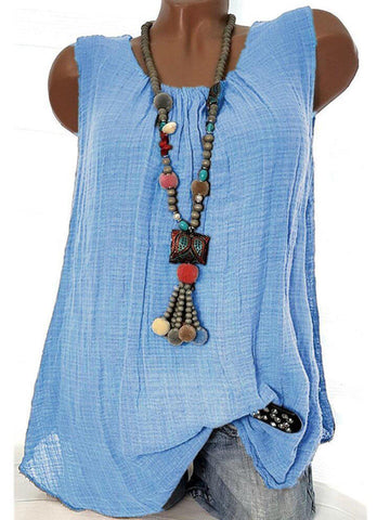 Women Linen Causal Tops Round Neck Solid Sleeveless Tanks-Top-Wotoba-Sky Blue-S-Wotoba