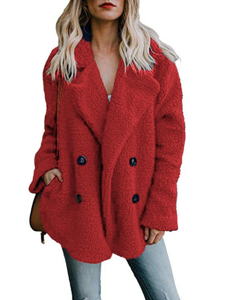 Women Teddy Bear Winter Fluffy Jacket Long Sleeve Buttoned Plus Size Coat-TOPS-Wotoba-Red-S-Wotoba