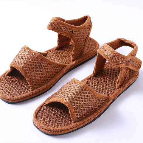 Brown Mesh Summer Sandals Ladies Vintage Slip On Sandals-Shoe-Wotoba-Brown-35-Wotoba