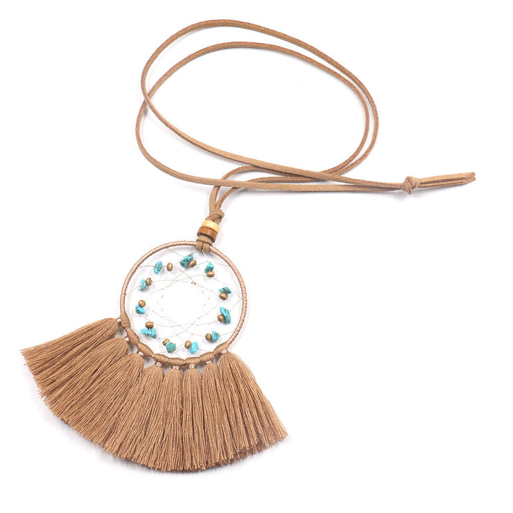 Turquoise Geometric Dream Catcher Long Fringe Necklace-ACC-Wotoba-Beige-One-size-Wotoba